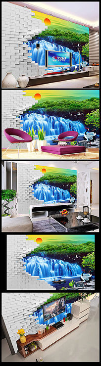 瀑布3D流水生财立体电视背景墙