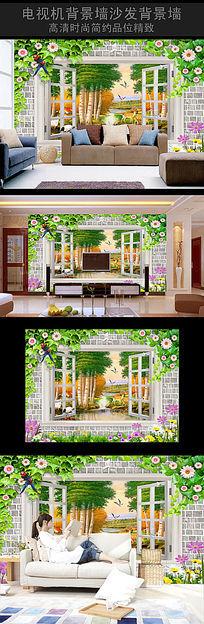 白桦林立体沙发背景墙
