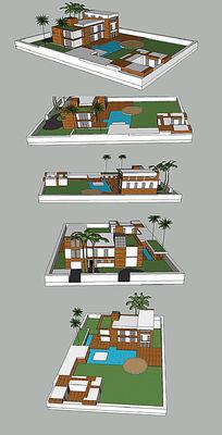 独立私人别墅草图大师sketchup模型设计