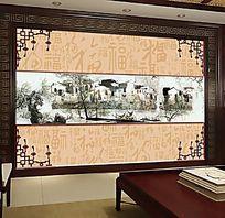 古典江南水乡书房背景墙