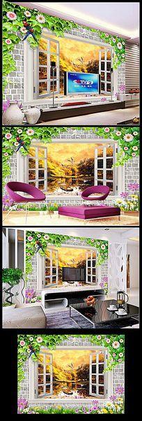 金秋风景画立体沙发背景墙