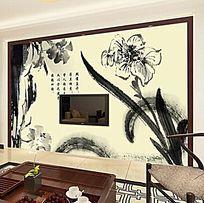 水墨花朵电视背景墙
