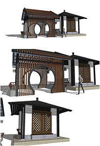 中式亭子廊架SU模型