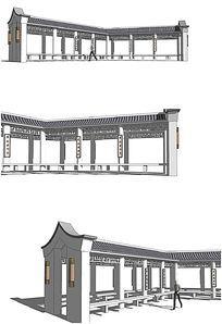 中式亭子廊架建筑SU模型