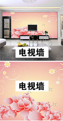 粉色花朵沙发背景墙图片