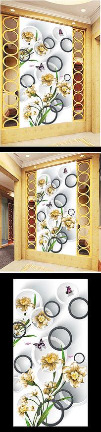 3D时尚手绘花朵玄关过道背景