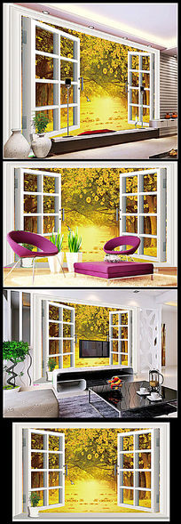 3D窗外黄金大道沙发背景墙