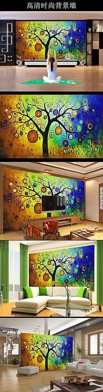 梦幻大树沙发背景墙