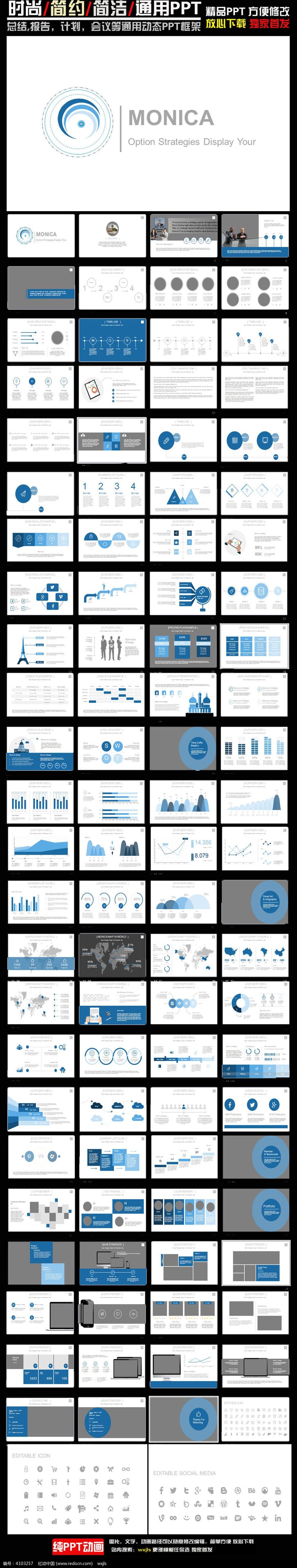 欧美大型数据报告PPT图表图片