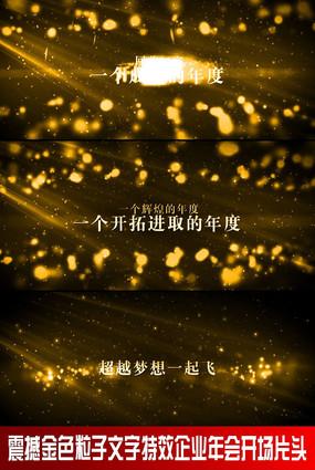 震撼金色粒子文字特效企业年会晚会开场片头视频