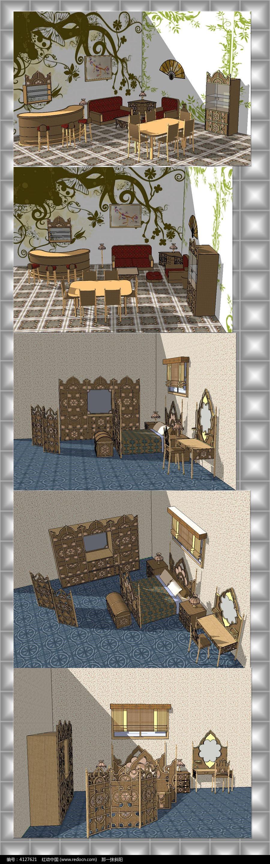 东南亚风格室内家具草图大师模型图片