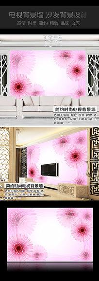 粉色花卉卧室背景墙