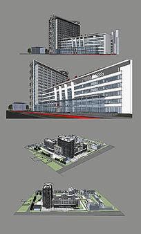 医院大楼建筑物SU模型