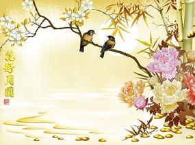 客厅国画花鸟客厅背景墙