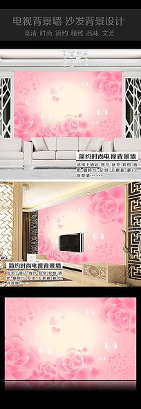 粉色花卉沙发背景墙