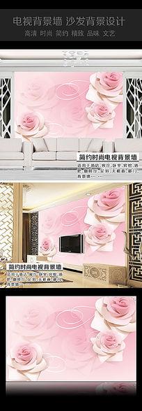 粉色玫瑰花沙发背景墙