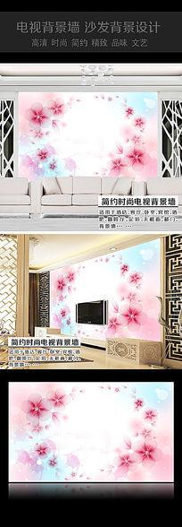 桃花沙发背景墙