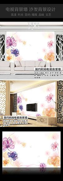 透明花卉沙发背景墙