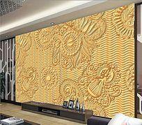金色底纹电视背景墙