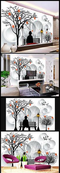 怀旧抽象树林沙发背景墙
