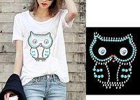 潮流女T恤图案 猫头鹰烫钻图案