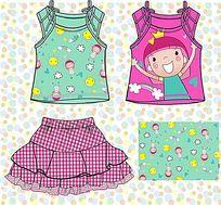 可爱卡通女童T恤矢量手稿 女童设计手稿