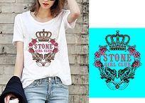 欧美流行皇冠t恤图案