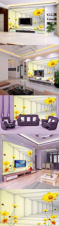 3D花卉电视客厅电视背景墙