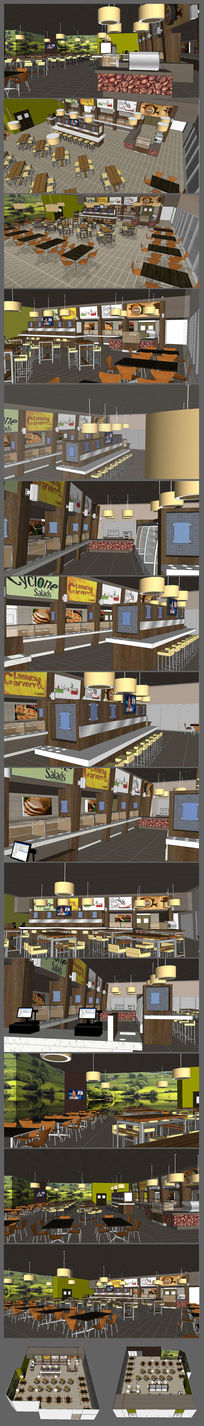 欧美休息餐吧餐厅的SU模型