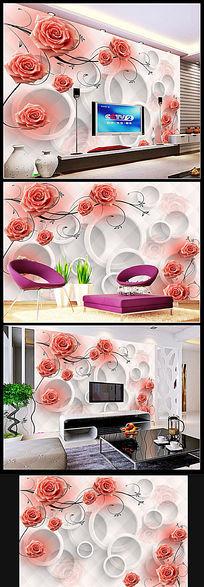 花纹玫瑰3D圆圈电视背景墙