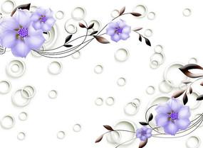 紫色花朵电视背景墙
