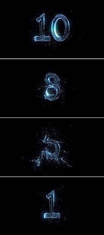 震撼蓝色水花10秒倒计时开场片头视频