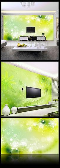 抽象花卉沙发背景墙