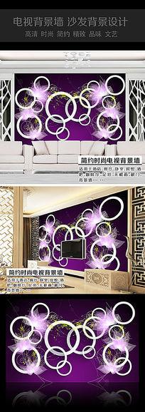 紫色荷花3D背景墙模版
