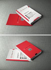 红白色经典名片设计