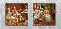 高清欧式宫廷聚会油画装饰图