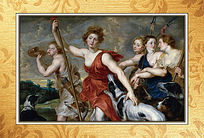 高清欧式古典油画挂图