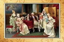 高清油画宫廷贵族聚会装饰图