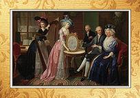 宫廷聚会人物油画装饰画