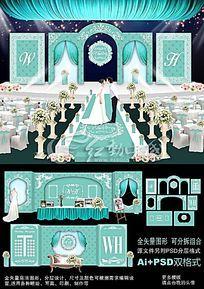 蓝色主题婚礼背景设计