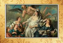 油画古代宫廷古典室内挂图