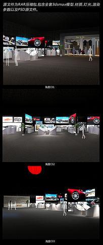 全套展厅设计3dsmax模型(含材质、灯光及psd源文件)