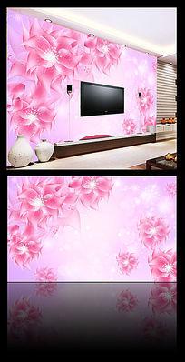 粉色花朵沙发背景墙