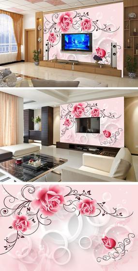 浪漫温馨玫瑰3D电视背景墙