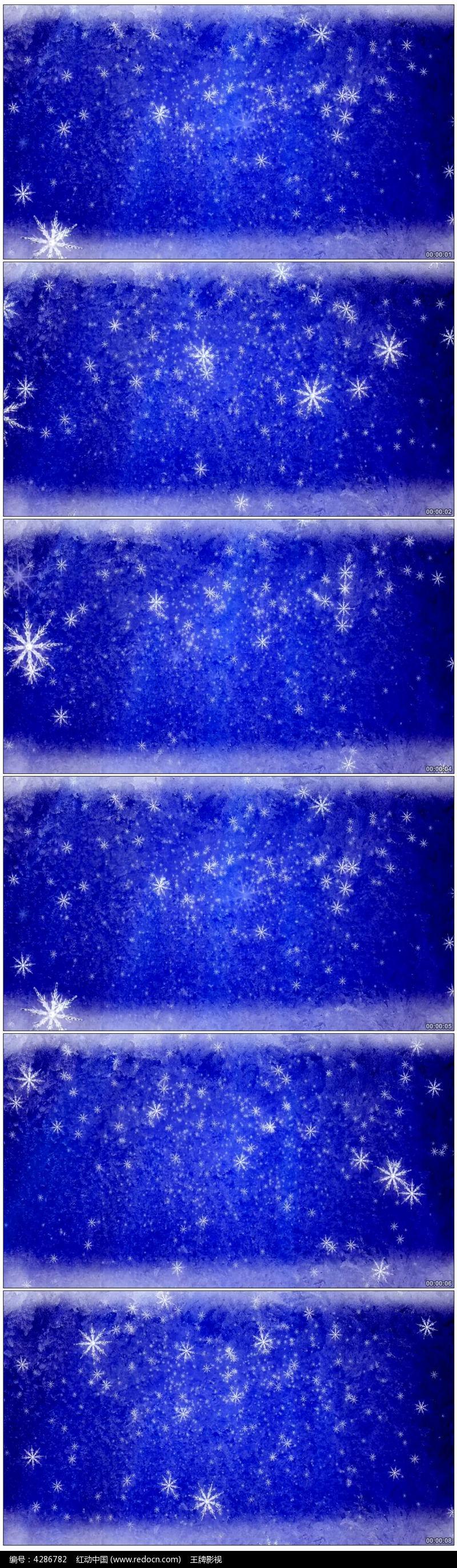 蓝色动态背景雪花飘落视频图片
