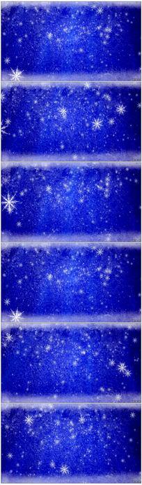 蓝色动态背景雪花飘落视频