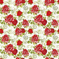 矢量玫瑰印花图案花纹底纹