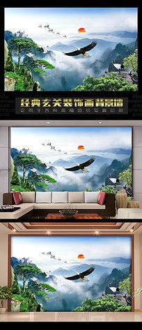 中国风一轮红日办公室背景墙