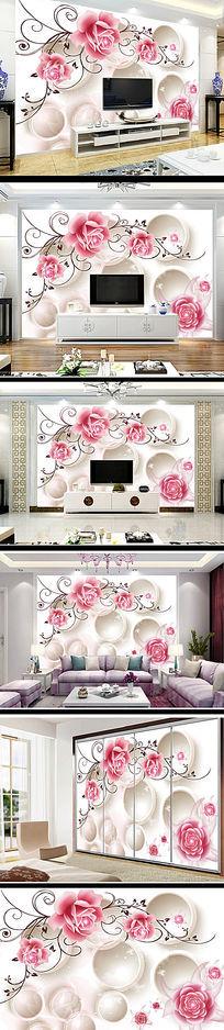唯美玫瑰花现代客厅电视背景墙