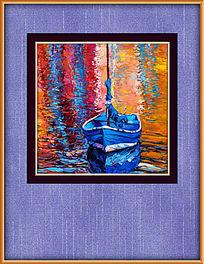 抽象小船油画装饰图